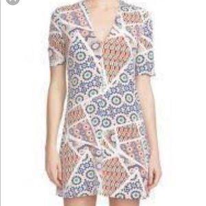 Cynthia Steffe White Colorful Mosaic Printed Dress